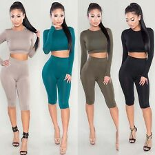 Women Gym Yoga Sweat Suit Bodycon Tracksuit Long Sleeve Crop Top Fifth Pants