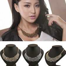 Hottest Vintage Hollow out Leaf Necklace Pendant Metal Chain Statement Necklace