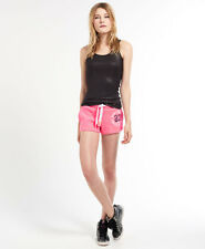 New Womens Superdry Trackster Shorts Neon Pink