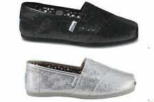 NEW AUTHENTIC WOMENS TOMS SHOES CLASSICS BLACK SILVER GLITTER SLIP ON FLATS