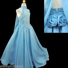 Girl National Glitz Pageant Bridal Formal Long Dress Aqua Blue 7 8 10 12 14 New