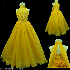 Girl National Glitz Pageant Bridal Formal Long Dress yellow sz 7 8 10 12 14 New