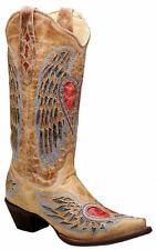 Corral Women's Antique Saddle/Blue Jean Wing and Heart Cowgirl Boot A1976