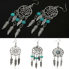 Vintage Antique Silver Turquoise Bead Dream Catcher With Feather Dangle Earrings