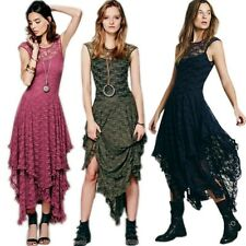 Plus Size Sexy Embroidery Lace Backless Aysmmetric Layered Fit Flare Long Dress
