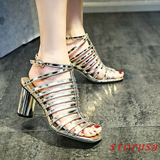 Luxury Women High Black Heel Roman Sandals Sequins Strappy Part Dress Shoes Size