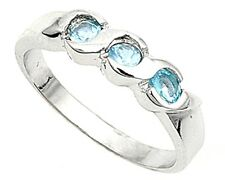 Sterling Silver CZ Aquamarine baby or pinky ring Size 1-4
