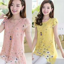Cute Womens Floral Print Long Tops Tee Shirt Top Chiffon Blouse Plus Size S-XXL