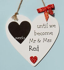 PERSONALISED WEDDING COUNTDOWN SIGN PLAQUE - HEART SHAPED - VARIOUS COLOURS