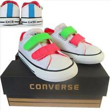 KIDS Toddlers Boy Girl CONVERSE All Star WHITE NEON VELCRO 3V Trainers UK SIZE 9