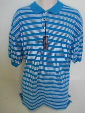 ALEXANDER JULIAN Aqua Blue Striped Pique Polo Size XL,XXL NWT