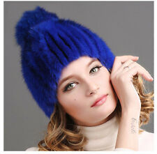 Genuine Women winter real mink fur hat with pompom Headgear Tuque Beanie #55