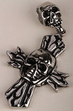 Men stainless steel skull cross necklace pendant W chain biker jewelry gift GN60