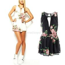 Womens Lady Summer Sleeveless Chiffon Floral Club Party Jumpsuit Romper Trousers