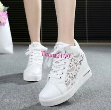 Fashion Womens Hollow out Lace Platform Wedge Lace Up High Top Sneakers Shoes