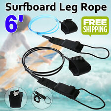 6' Surfboard Leash Leg Rope 7mm Surf Legrope Double Stainless Steel Swivels New