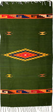 """ZAPOTEC INDIAN MEXICAN  RUG  100% WOOL  HAND WOVEN 30"""" X 60 ZR100"""