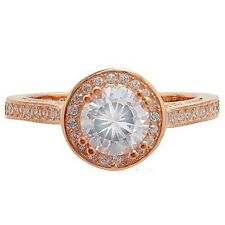 DAINTY 14K ROSE VERMEIL HALO CUBIC ZIRCONIA WEDDING ENGAGENENT RING-925/SS-