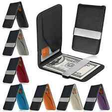 Hot Slim  Mens PU Leather Wallet Silver Money Clip Credit ID Card   Holder Purse