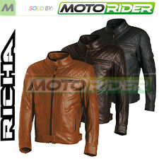 Richa Memphis Leather Retro Motorcycle Motorbike Jacket | All Colours