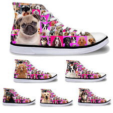 Fashion Animal Print Hi Tops Womens High Top Lace Up Trainers Canvas Pumps Size