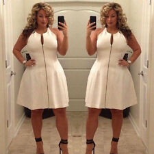 Plus Size Sexy Women Summer Casual Bandage Bodycon Party Evening Zipper Dress