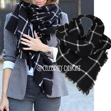 sca7 Ladies Oversized Plaid Tartan Winter Woo Scarf Wrap Thick Shawl Stole