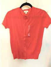 NWT Ann Taylor LOFT Crew Neck Short Sleeve Cotton Cardigan Sweater $40 Orange