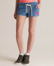 New Womens Superdry Stacker Volley Shorts Mid Blue Marl