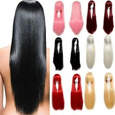 100% Synthetic Hair Heat Resistant Party Cosplay Wig Long Straight Curl Full Wig