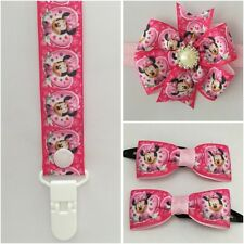 dummy clip headband girls hair band baby newborn bow minnie mouse clips pink