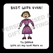 PERSONALISED BEST WIFE HUSBAND GIRLFRIEND BOYFRIEND COASTER VALENTINES DAY GIFT