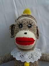Original Red Heeled Sock Monkey - Yellow PomPom - Handmade - Charity Fund