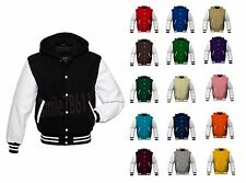 Premium Wool & Real Cow Leather Sleeves Varsity Letterman Baseball Jacket Hoodie