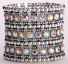 Stretch cuff bracelet bridal wedding party bling jewelry gifts A1 3 row CN