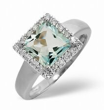 White Gold 0.17ct Diamond &1.42ct Aquamarine Square Ring Size K-S Made in London