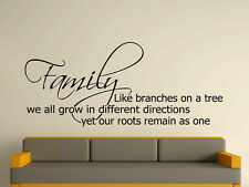 Family Like Branches On A Tree Decorative Wall Art Sticker 3 Sizes 30 Colours