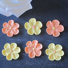 6 EDIBLE SUGAR FLOWERS CUPCAKE DECORATIONS,CAKE TOPPERS YELLOW , ORANGE