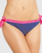 Marie Meili Marina Tie Side Bikini Brief Blue White Polka Dot Pink Frill NEW