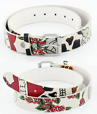 Skull and Roses Tattoo Designs on Genuine Tan Leather Belt