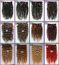 200g 10pcs Salon Queen Curly Wavy Virgin Remy Clip In Real Human Hair Extension