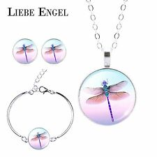 Women Trendy Dragonfly Glass Cabochon Pendant Necklace Earrings Bracelet Set