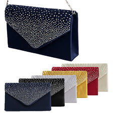 Women Sparkling Rhinestone Satin Frosted Evening Bag Handbag Clutch Purse