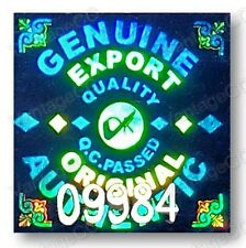 GENUINE EXPORT Hologram Stickers, NUMBERED, 15mm Square Warranty Labels, Silver