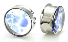 Double Flare Ear Plugs with Encapsulated Blue Glass - Price Per 1