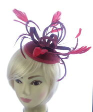 Large Burgundy and Red Headband Aliceband Hat Fascinator Wedding Ladies Day