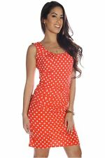 121AVENUE Lovely Polka Dot Ruched Dress S Small Women Pink Career USA