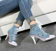 Womens Denim Canvas Rivet High Heel Stilettos Lace Up Sneakers Shoes US Size new