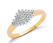 9k Yellow Gold 0.16ctw Real Diamond Cluster Ring - UK Made - Hallmarked Size K-S