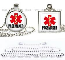 "Pacemaker Medical Alert Necklace Glass Top Pendant with 24"" Ball Chain included"